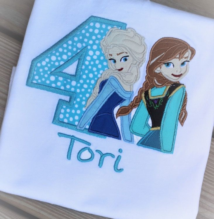Frozens Elsa and Anna appliqué birthday shirt. Visit my Etsy shop for more info and other designs! https://www.etsy.com/shop/ThreadsUpDesigns