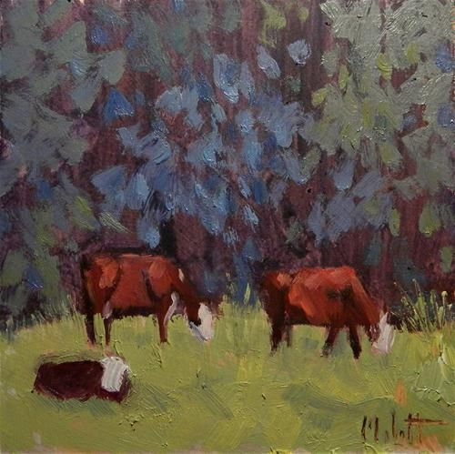 """Hereford Cattle Calf Cows Art Landscape Daily Oil Painting"" - Original Fine Art for Sale - © Heidi Malott"