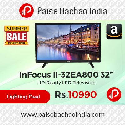"""Amazon Lightning Deal is offering 39% off on InFocus II-32EA800 32"""" HD Ready LED Television at Rs.10990 Only. LED 1366 x 768, 60 hertz Refresh Rate, Smart UV2A, low reflection Technology, 8-bit colors processing, 1 Year InFocus Domestic Warranty.  http://www.paisebachaoindia.com/infocus-ii-32ea800-32-hd-ready-led-television-at-rs-10990-only-amazon/"""