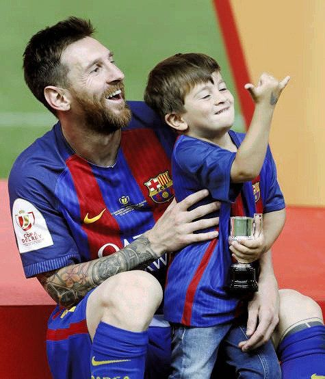 Lionel Messi's son Thiago learns Neymar's celebration (Pictures)