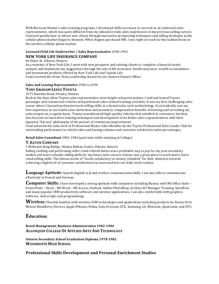 Outbound Sales Rep Resume - Specialist's opinion