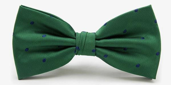 - silk - adjustable neck strap with quick-release clasp - blue dots on green background - dry-clean only