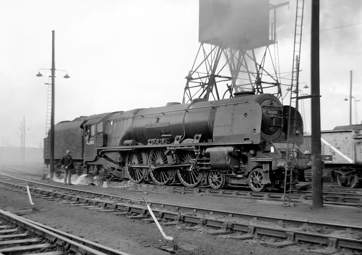 Coronation Pacific 46240 'Cit of Coventry' at Willesden, 1963.