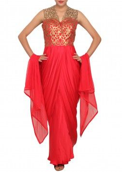 Scarlet red salwar kameez with cowl drape featured in satin