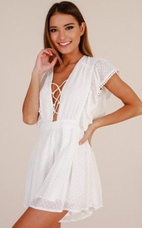 40809cd456 Dance With Me All Night playsuit in white