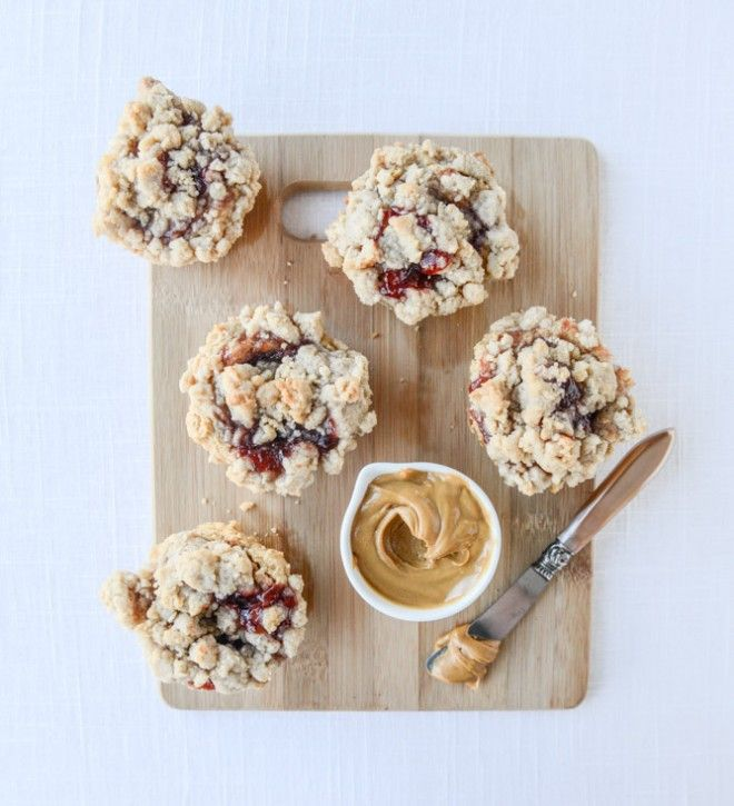 Peanut Butter and Jelly Crumb Muffins.