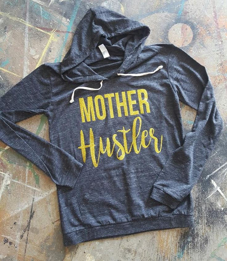 Mother Hustler - Ladies Classic Hooded Pullover T-Shirt - Gold Glitter Print by GraphicsUnlimitedLLC on Etsy