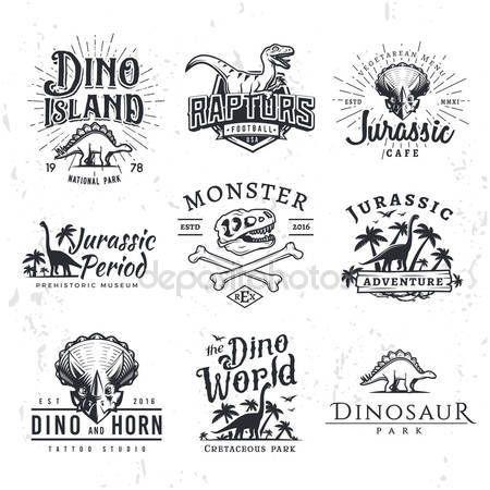 Descargar - Gran dinosaurio Vector Logo conjunto. Concepto de ilustración de camiseta de triceratops. Insignia de seguridad Raptor diseño de plantilla. Etiquetas vintage de Jurásico período. Insignias del parque temático — Ilustración de stock #112697510