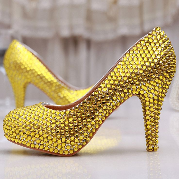 73.79$  Buy now - http://alisbh.shopchina.info/1/go.php?t=32314175275 - Gold Rhinestone heels Handmade Sexy Women Platforms Bridal Wedding Shoes Evening Party Prom High Heel Gold Bridesmaid Shoes  #magazineonlinebeautiful