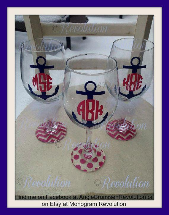 Anchor Monogrammed Wine Glass Monogram by MonogramRevolution, $12.00