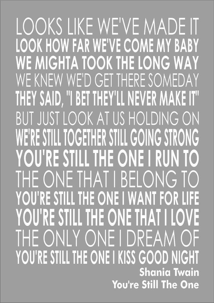 Shania Twain - You re Still The One Wall Art Typography Song Lyrics Lyric Verse