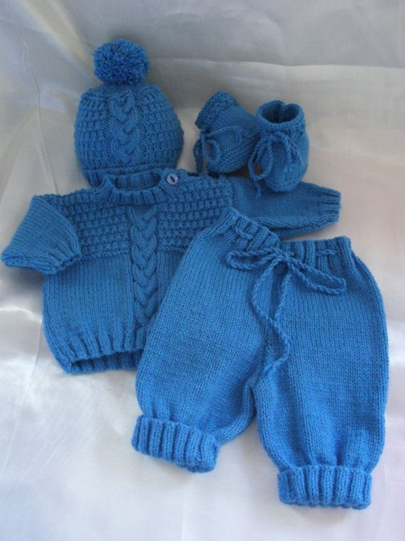 Newborn Baby Boy Coming Home Sweater, Pants, Hat and Booties Outfit or 18-20…