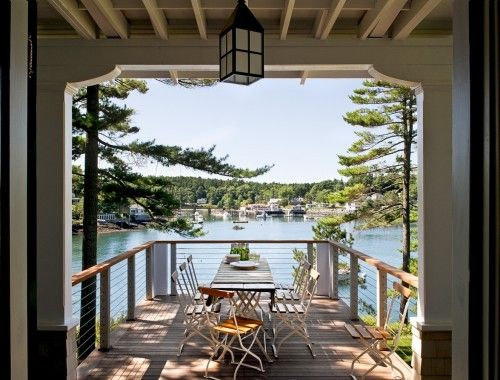 Outdoor dining with a fantastic view...: Architects, Stonghurst, Dreams, Lakes Houses, The View, Decks Railings, Portland Maine, Cottages, Traditional Porches