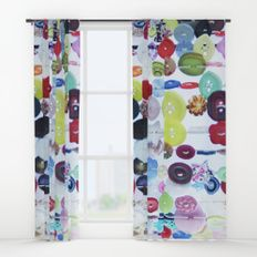 Buttons Window Curtains by I Love the Quirky