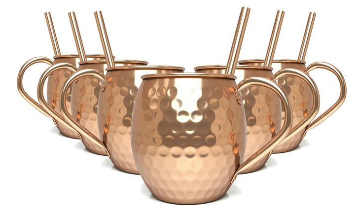 6-Pack of Premium Hammered Copper Mugs - 100% Pure Solid Copper Cups - BONUS Copper Straws