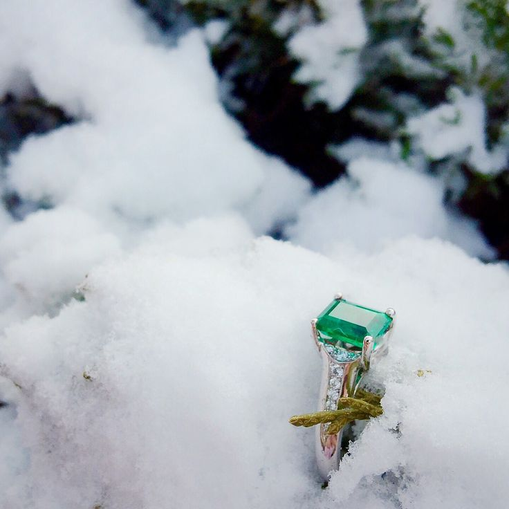Beautiful Custom emerald engagement ring.