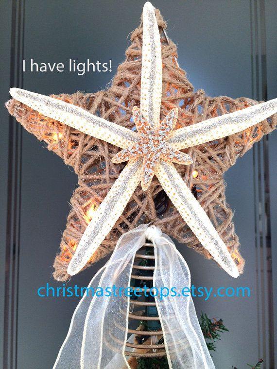Starfish Tree Topper Lighted Starfish Tree Star, Coastal Beach Christmas tree by Christmastreetops