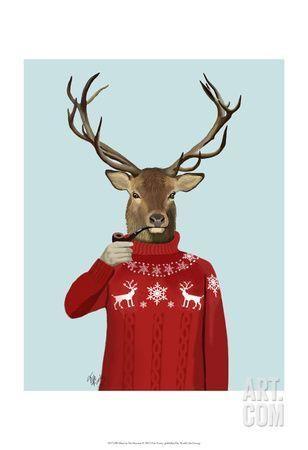 Deer in Ski Sweater Art Print by Fab Funky at Art.com