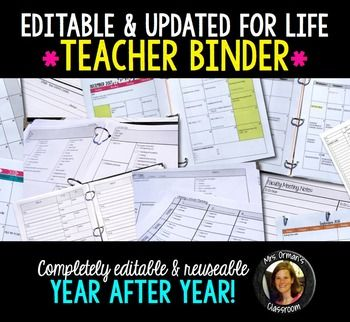 Teacher Binder: Editable and updated for life. Includes lesson planning pages, calendar, permission slip templates, helpful pages for subs, and so much more!