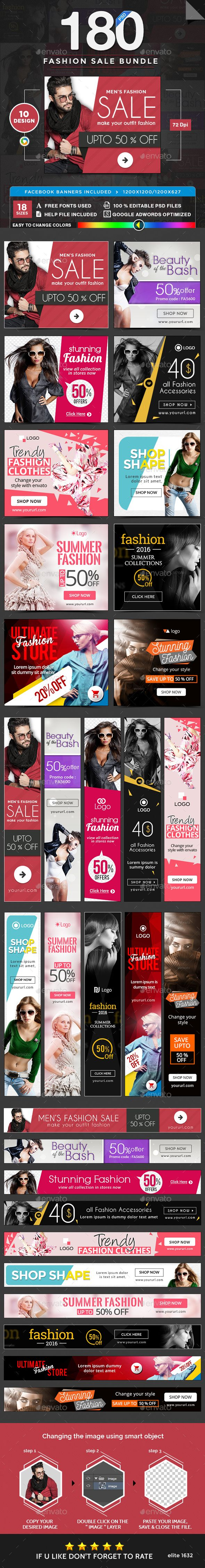 Fashion Sale Web Banners Bundle - 10 Sets - 180 Banners Templates PSD. Download here: http://graphicriver.net/item/fashion-sale-banners-bundle-10-sets-180-banners/16936145?ref=ksioks
