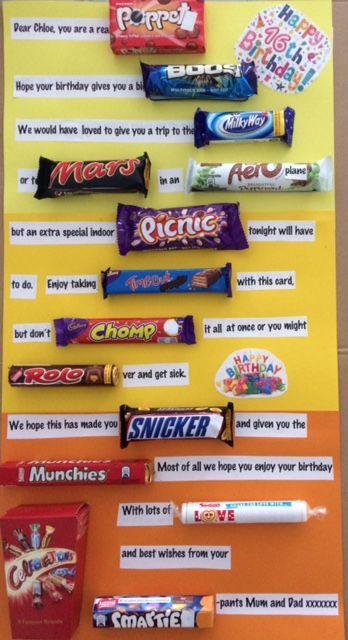 16th birthday chocolate bar message uk