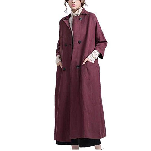 Women's Long Trench Jacket Dress Casual Loose Fit Maxi