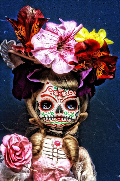 Steampunk Dia De Los Muertos Flower Doll PRINT 344 from Photo/Doll by Michael Brown. $11.00, via Etsy.