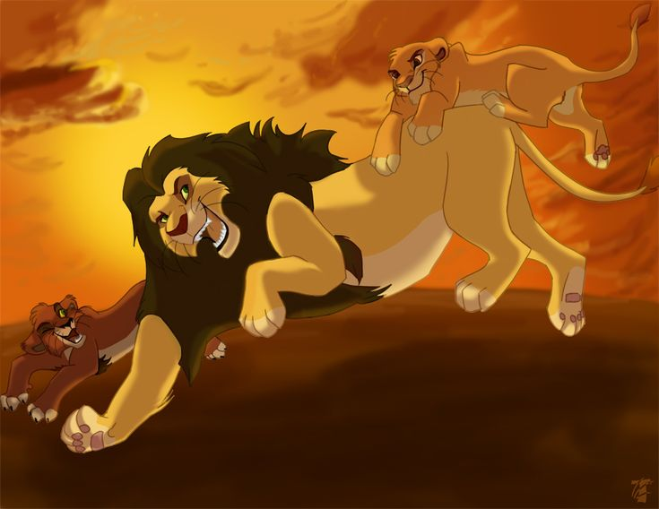 taka and mufasa as cubs playing with their daddy  ahadi