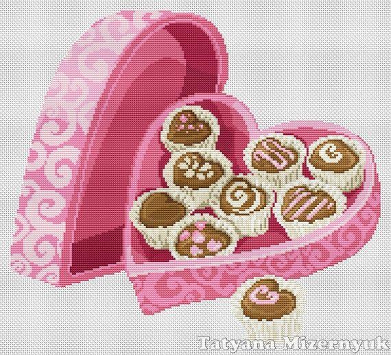 Cross stitch pattern Valentines day candy by TatyanaStitch on Etsy