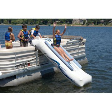 I will have a Pontoon next year. Looks like so much FUN! Pontoon Slide. Really good idea!