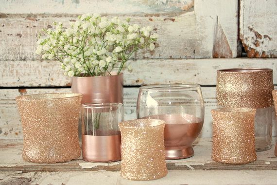 Rose Gold wedding decor,  12 rose Gold dipped vintage vases and votive candle holders, table decorations, rose gold, glitter, upcycled