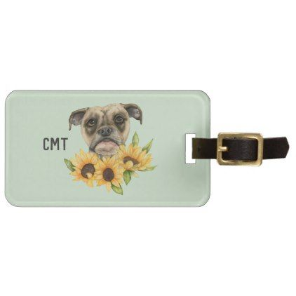 Cheerful   Bulldog Mix with Sunflowers   Monogram Luggage Tag - monogram gifts unique design style monogrammed diy cyo customize
