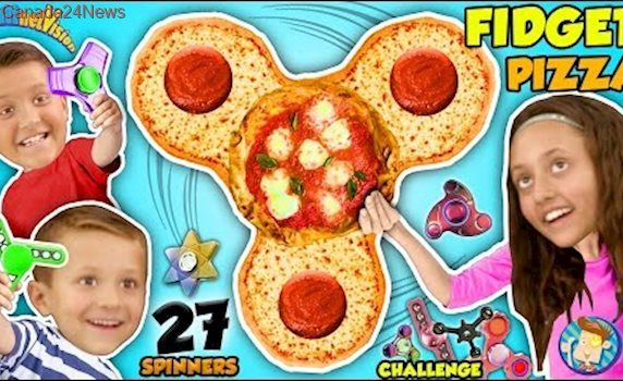 FIDGET SPINNER PIZZA 27 HAND SPINNERS COLLECTION CHALLENGE + HUMAN SPIN ♫ FUNnel Vision Skit Song