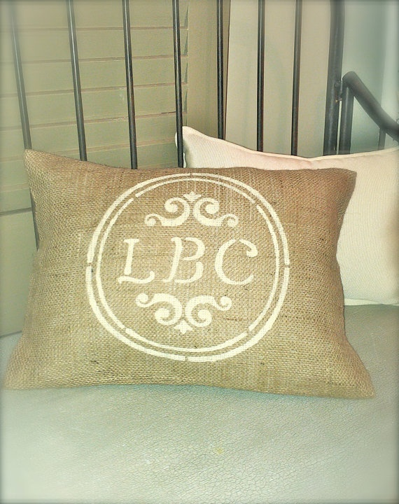 MONOGRAM PERSONALIZED BURLAP Pillow with Jute Trim 12x18 - Shabby Chic, French Country Home Decor- Rustic Vintage inspired Wedding Decor. $20.00, via Etsy.Shabby Chic Homes, Jute Trim, French Country Homes, Rings Bearer, Monograms Personalized, Burlap Pillows, Burlap Cushions, Ring Bearer Pillows, Vintage Inspired Wedding