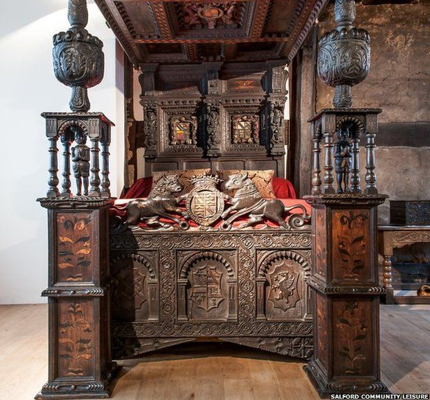 The wedding bed for Sir John Radclyffe and Lady Anne Asshawe, dates back to the 1570s. The bed is the only surviving piece of furniture from Ordsall Hall. The Radclyffe family were one of the most influential families in England who served Tudor kings and queens in civil and foreign wars.