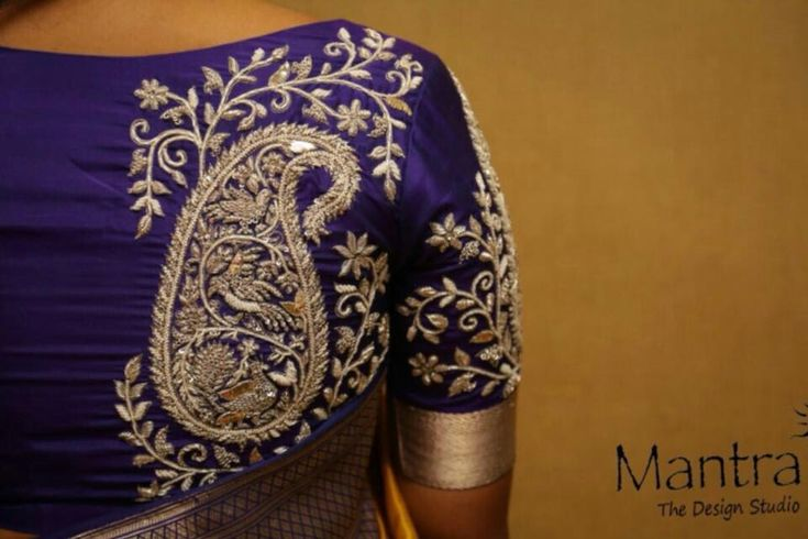 Mango motif embroidered blouse