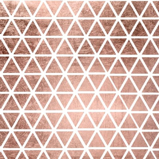 Geometric Faux Rose Gold Foil Triangles Pattern Canvas Print By Girly