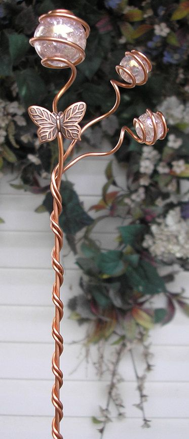 Handmade Butterfly Stake - Glass Orb - Copper Metal Sculpture - Garden/Plant Yard Art Pink. $24.99, via Etsy.