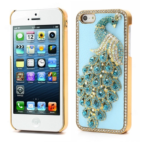 Wholesale Bling Diamond 3D Peacock Leather Coated Plated Hard Case for iPhone 5 - Baby Blue - iPhone 5 Hard Cases