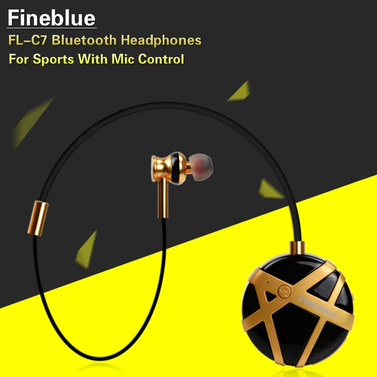 Fineblue FL-C7 Wireless Sports Bluetooth Headphones Stereo Noise Reduction In Ear Headset Handfree Earphones With Mic For Phones #Affiliate