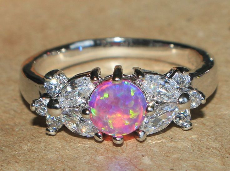 pink fire opal Cz white topaz ring gemstone silver jewelry Sz 7.25 chic band HY #Band