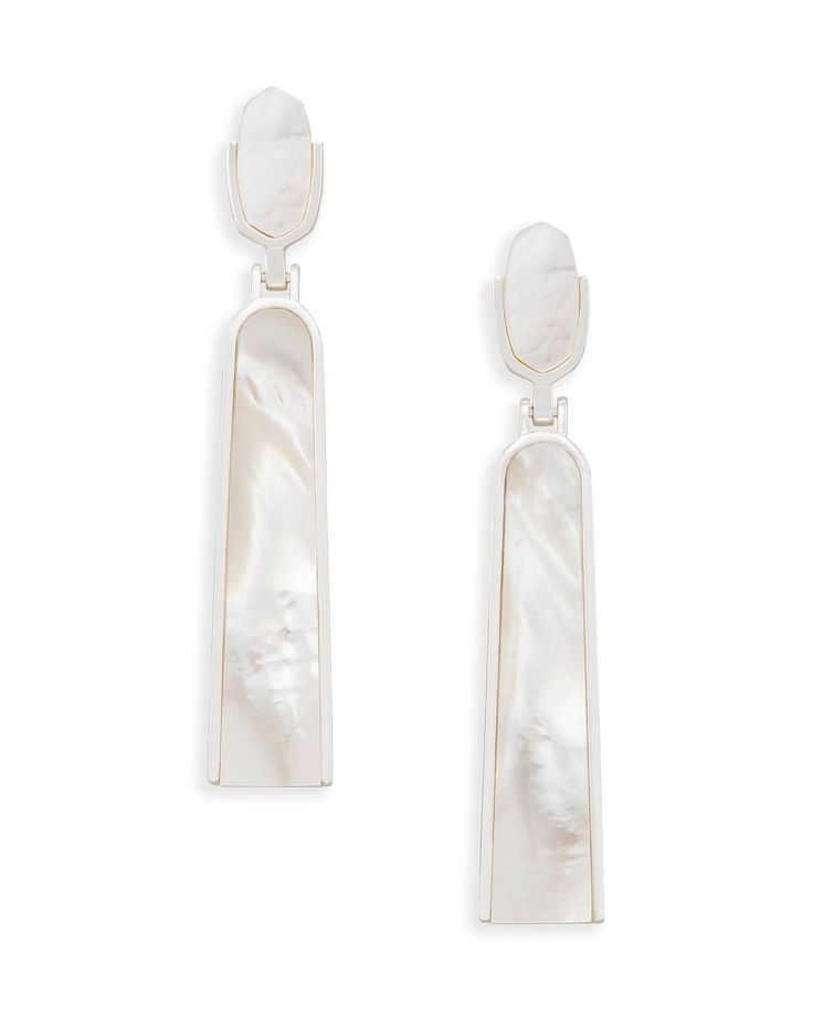 Kendra Scott Carson Statement Earrings in Ivory Mother of Pearl