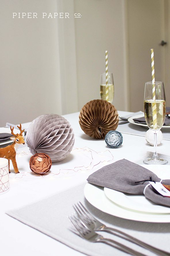 A little bit boho. A little bit scando. Check out our stylish and modern Christmas table setting and table decorations on our new profile. www.pinterest.com/PiperPaperCo Like and follow us on instagram @piperpaperco or Facebook www.facebook.com/piperpaperco