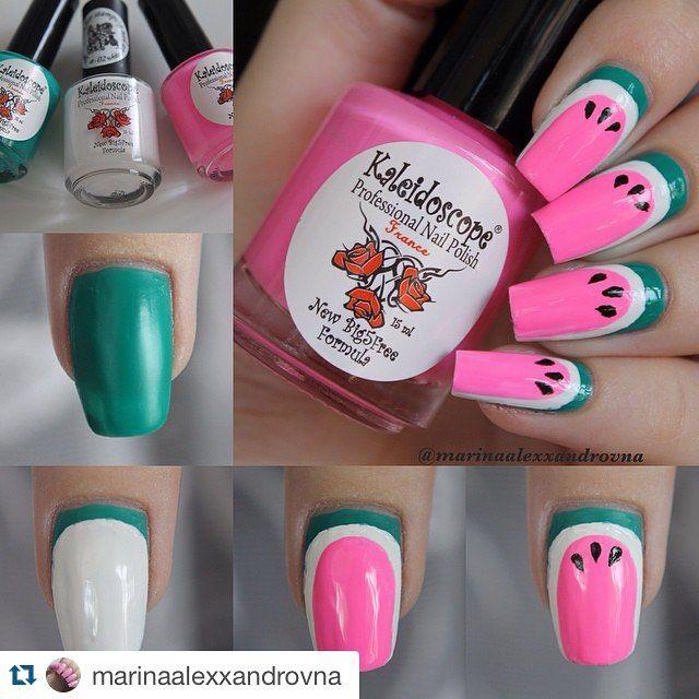 Repost @marinaalexxandrovna ・・・ Решила еще сделать фотоурок. Пусть тоже будет.  I used:  green nail polish from #elcorazon #kaleidoscope ⚪️ white nail polish #elcorazon Special Paint for stamping st-02;  pink nail polish #elcorazon #kaleidoscope; ⚫️ black acrylic paint. ------------------------------------- В маникюре использовала:  зеленый лак #elcorazon #kaleidoscope серии Яркая Я #напремьере; ⚪️ белый лак #elcorazon Special Paint for stamping st-02;  розовый лак #elcorazon