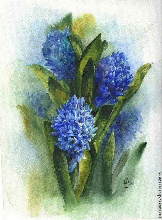Купить Букет гиацинтов - темно-синий, гиацинт, букет цветов, акварельная картина, цветы акварелью