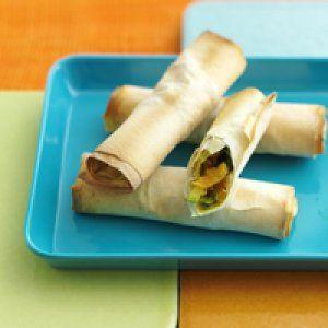 Sprøde snack-ruller med grøntsager