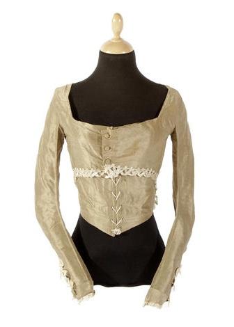 A circa 1790 pierrot-style silk bodice.