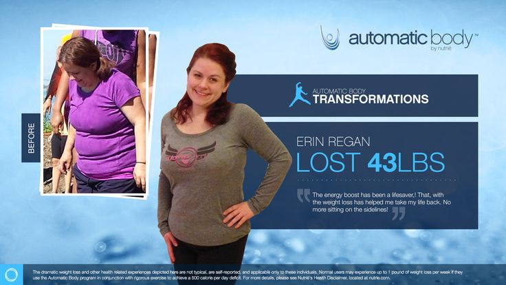 I'm so excited to be a finalist in the Automatic Body Transformation Contest. My Name is Erin Regan and I have lost 43 pounds with help from the Automatic Body program.  CLICK HERE TO TRY OUT OUR APP FOR FREE AND SAMPLE OUR AMAZING PRODUCT:WWW.NUTRIESAMPLE.COM
