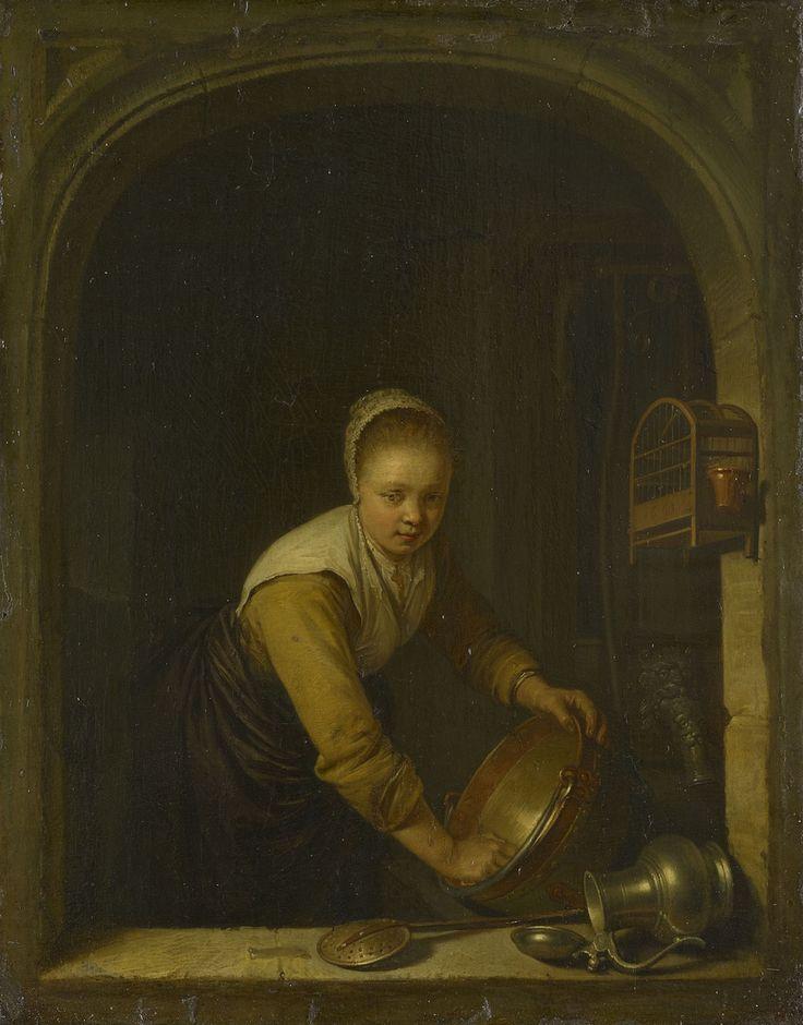Gerrit Dou: Jonge vrouw in een venster, een koperen ketel boenend. 1663. Royal Collection Trust. U.K. Een dienstmeisje staat een koperen pan te schuren. Een tinnen kan en een schuimspaan liggen op de vensterbank. Een vogelkooi hangt in het raam, achter het meisje staat een pomp. Op de vogelkooi staat het jaartal 1663. Welke verborgen symbolische betekenissen tijdgenoten in dit schilderij zagen, is ons niet bekend. Maar ze zullen zeker de deugden netheid en hard werken erin gezien hebben.