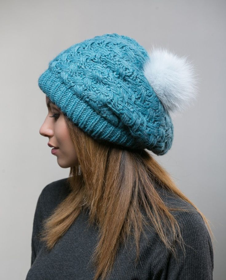 Turquoise Knit Beanie With White Fur Pon     #turquoise #wool #beanie #hat #heandband #realfur #fox #pompom #realfox  #haute #style #accessories #fashion